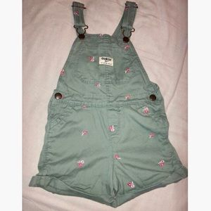 Green OshKosh overalls with pink flowers. Size 4T.